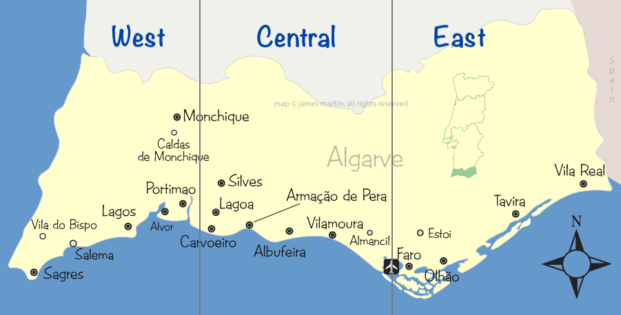 Map of Algarve