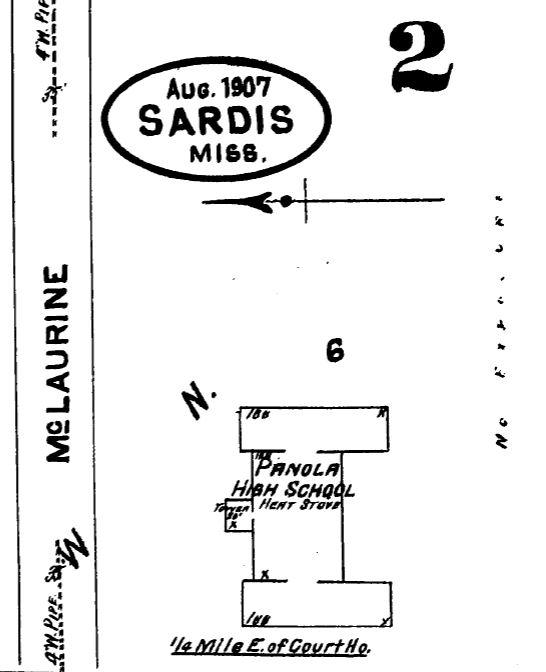 Panola High School. Sardis, Panola County. Sanborn Map Aug