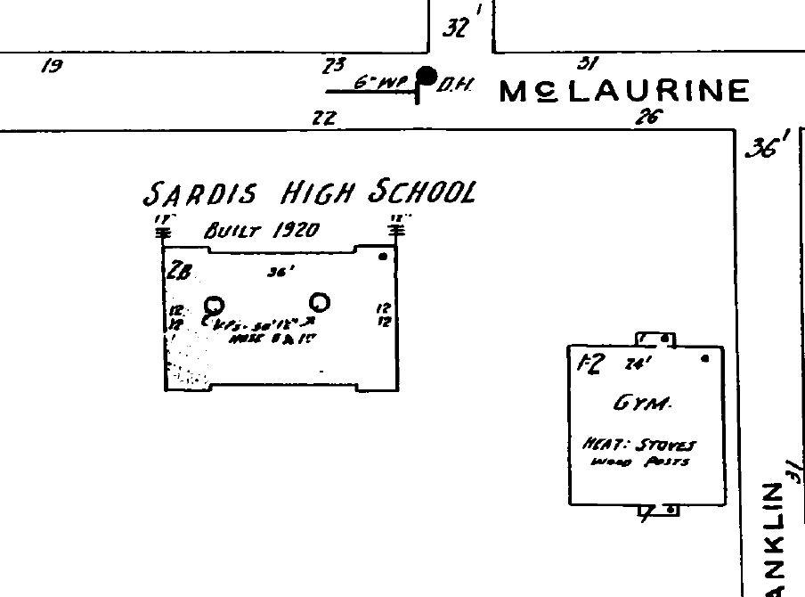 Sardis, Panola County high schools as seen on Sanborn Fire