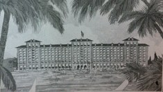 Detail Proposed Edgewater Gulf Hotel Biloxi Harrison County, from 'Way Down South Magazine August 15, 1925 from Harrison County Library collection