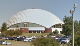 A. E. Wood Colliseum Mississippi College Clinton, Hinds County. From Google Maps Image made May 2013 accessed 4-15-14