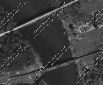 1955 Merrill Ms Aerial, Showing both the Merrill Salem Road Bridge and the ICRR bridge.