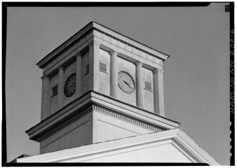 Detail of clock tower from northwest - Alcorn State University, Oakland Chapel, Alcorn State University Campus, Alcorn, Claiborne County, MS. April 1972, Jack Boucher, photographer.