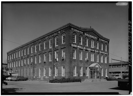 East front and south side - Corinth Machinery Company. HABS photographer, Jack E. Boucher, March 1975.