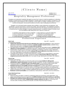 Hospitality Management Professional Resume Sample