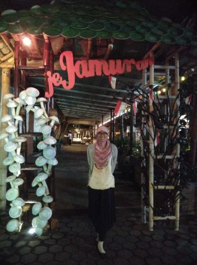 Me at front of Jejamuran Restaurant, Yogyakarta