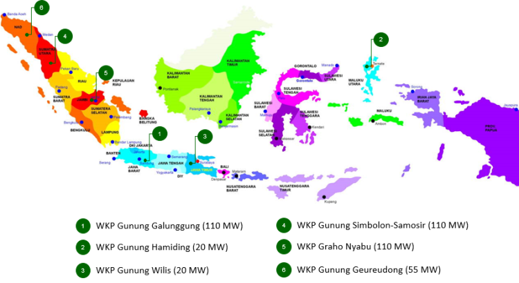 Potential geothermal projects in Indonesia