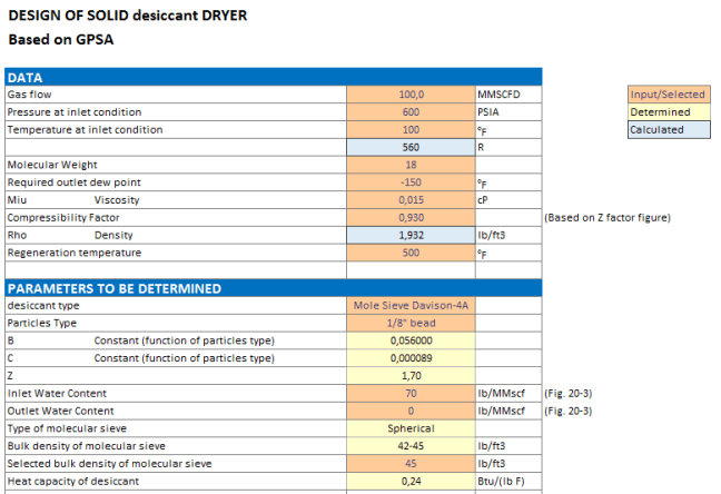 Screenshoot of spreadsheet of solid desiccant dryer sizing