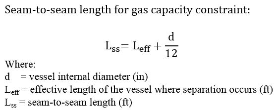 Seam-to-seam length for gas capacity constraint