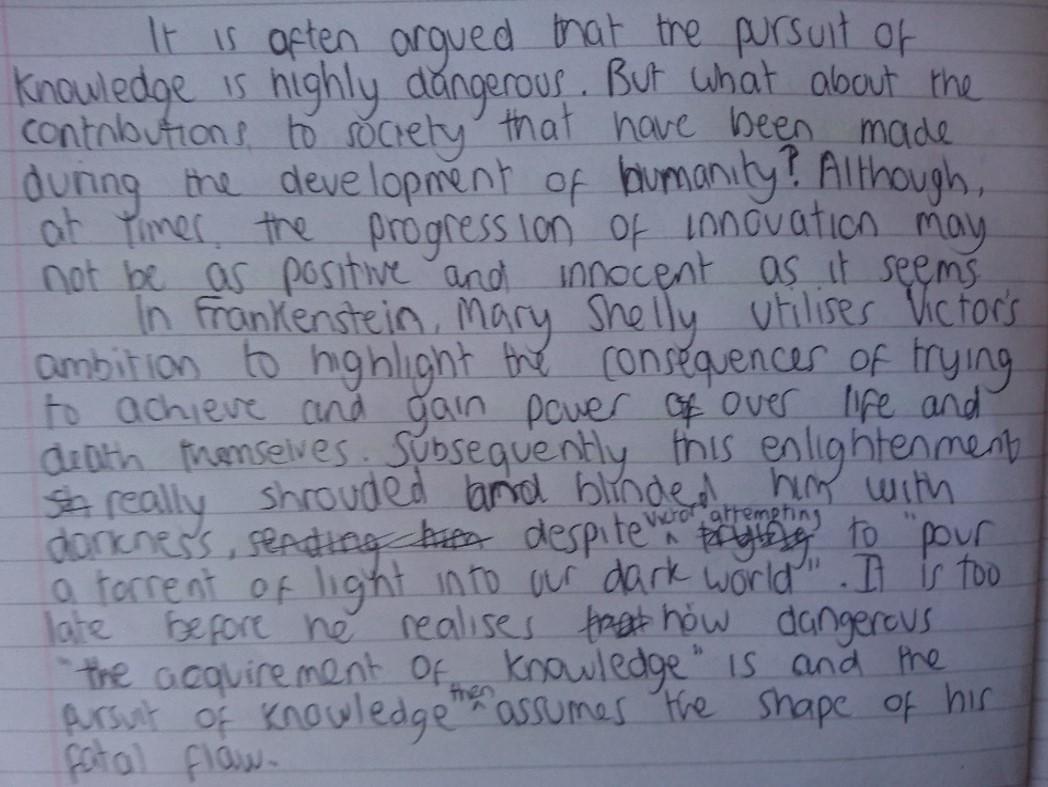 Literature Paper 1 Frankenstein 2 Miss Ryan S Gcse