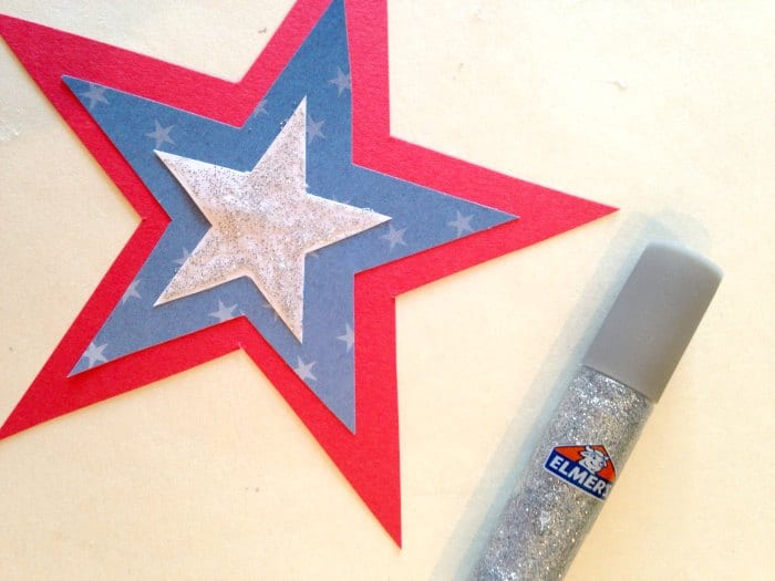 DIY patriotic star glitter glue