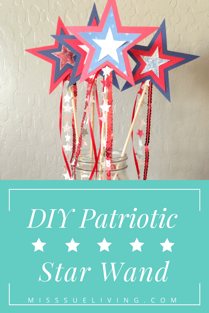 DIY Patriotic Star Wand. Use for your July 4th home decor. Easy star wand for the kids to make and use at the parade!
