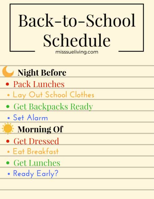 Approved Back to School Schedules That Will Inspire You, back to school schedule, back to school routine, back to school evening routine, back to school morning routine