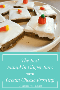 The Best Pumpkin Ginger Bars with Cream Cheese Frosting, fall recipe, thanksgiving recipe, bars, pumpkin recipe, pumpkin dessert