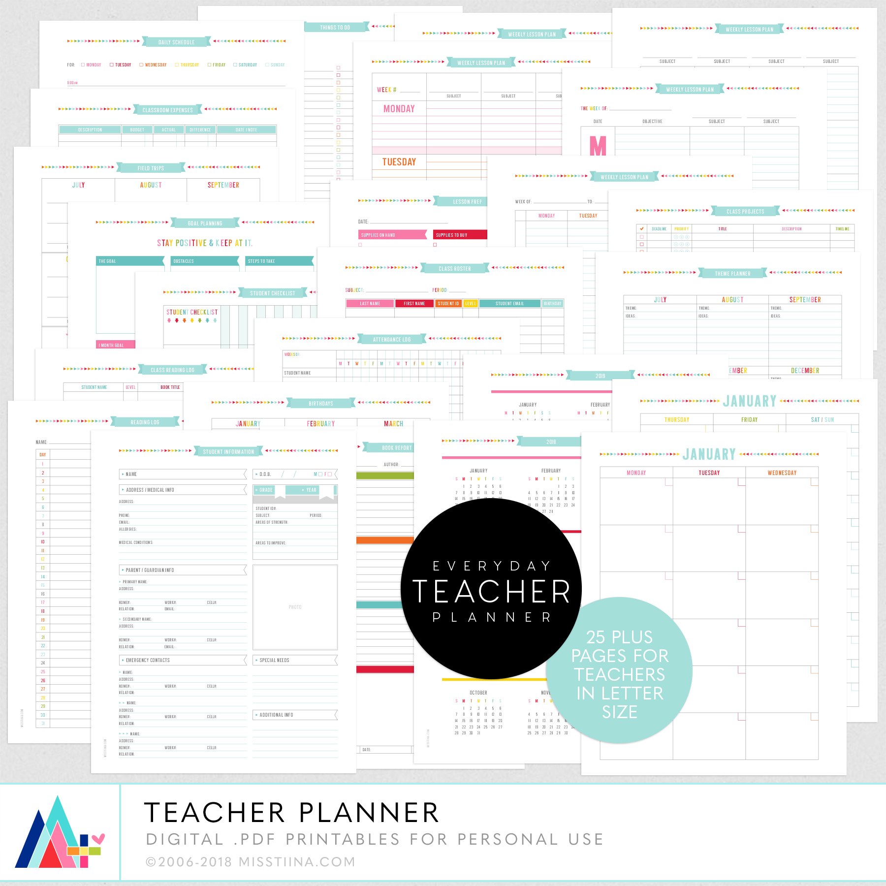 teacher planner 3 new printable planner freebies misstiina com