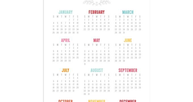 FREE 5×7 Colorful 2015 Calendar Printables