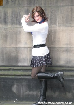 Expressing an early desire to do cheesy secret agent poses. Or something.