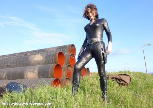 Action heroines always seem to end up mucking around industrial waste grounds...