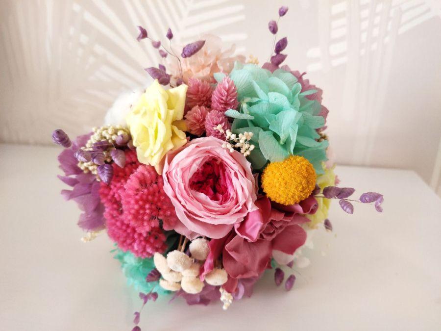 Ramo Sugar flores preservadas en colores pastel
