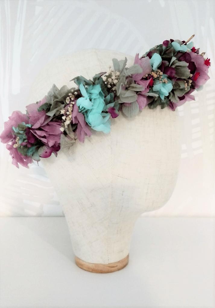 Corona Hada flores preservadas perfil