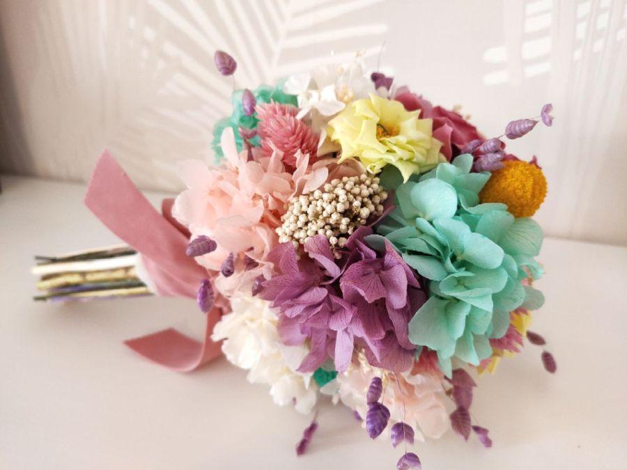 Ramo Sugar flores preservadas en tonos pastel