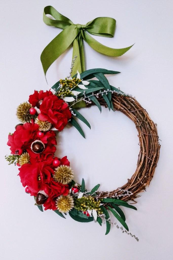 flor preservada corona navideña