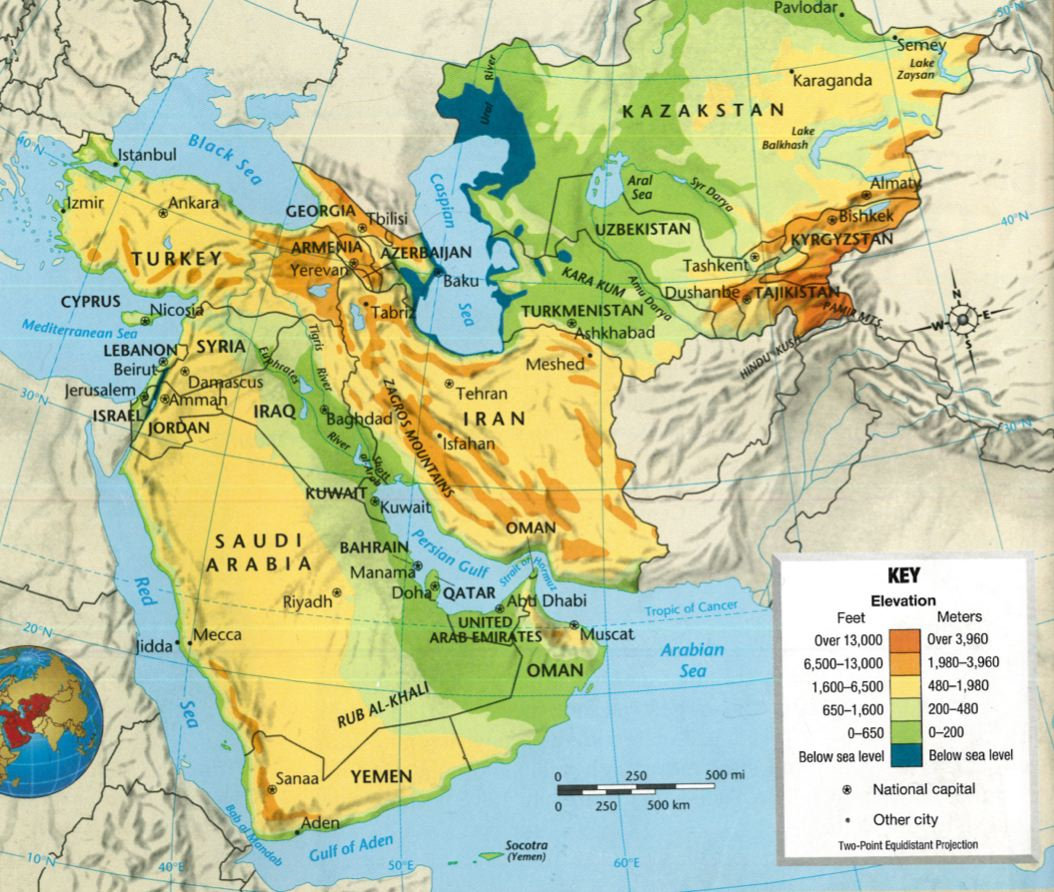 Landforms Of Southwest And Central Asia