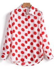red polka blouse