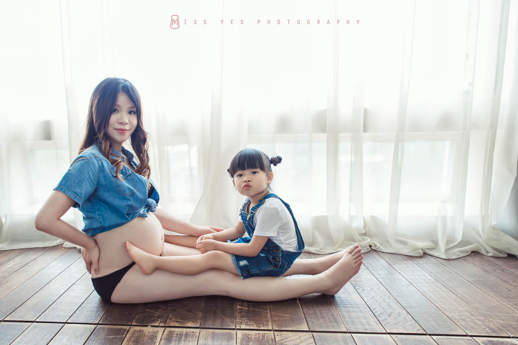 孕婦寫真,女攝影師,孕媽咪,大寶,攝影棚