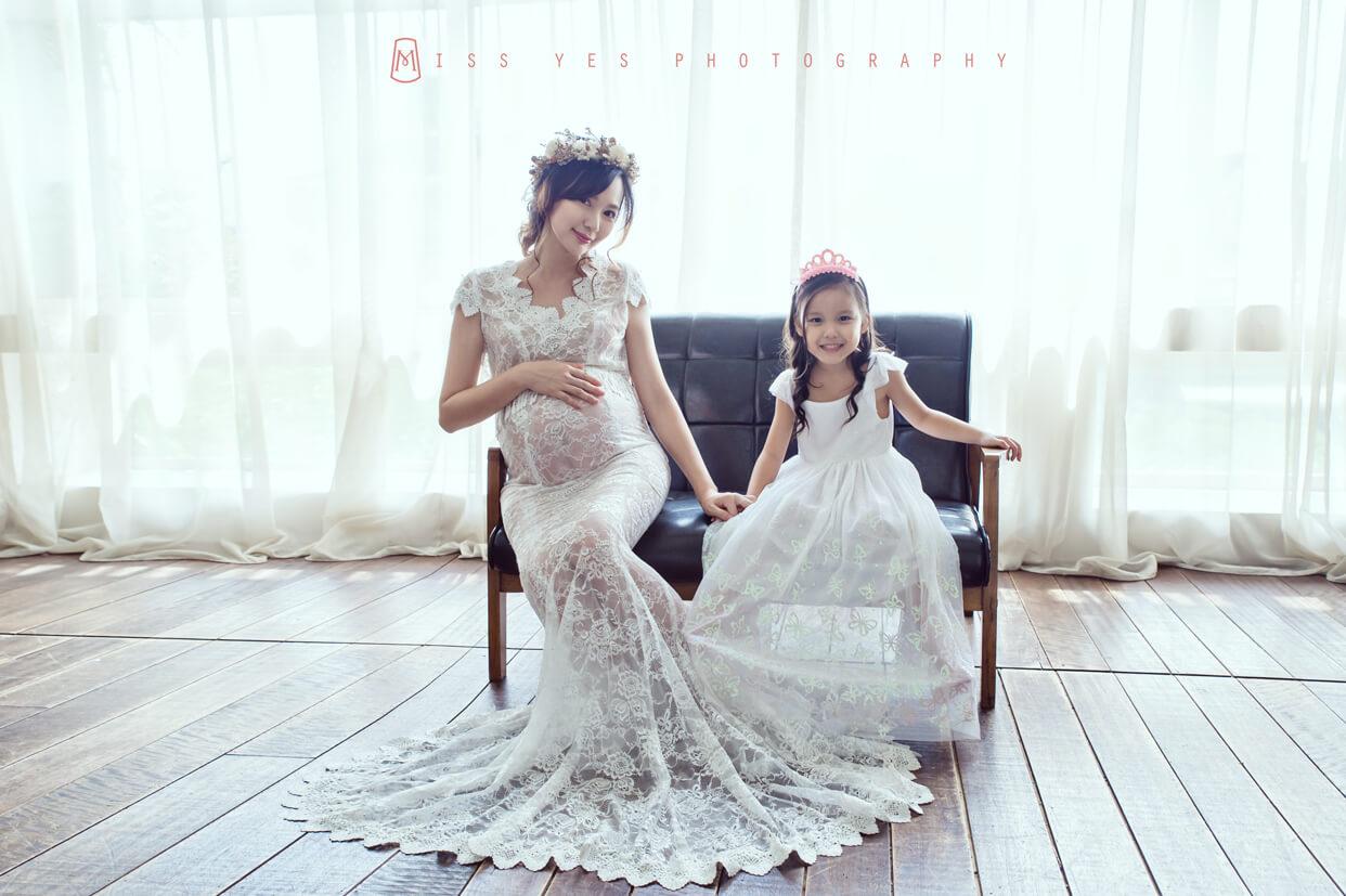 孕婦寫真,女攝影師,孕媽咪,大寶,白色洋裝