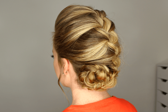 French Braid Rolled Bun