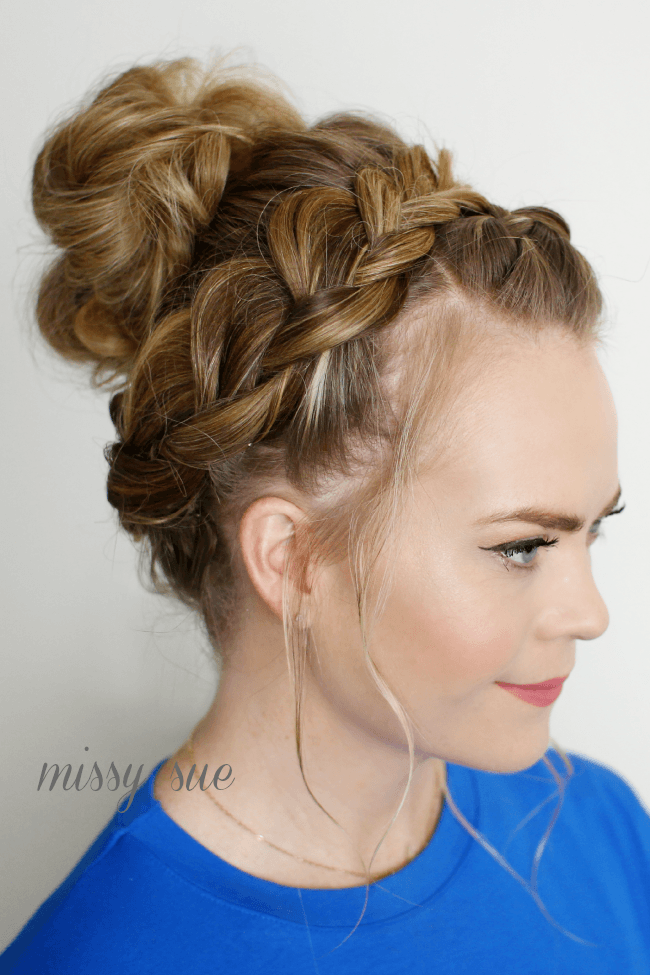 knotting hair styles braided top knot 8282