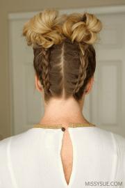 double dutch braids high buns