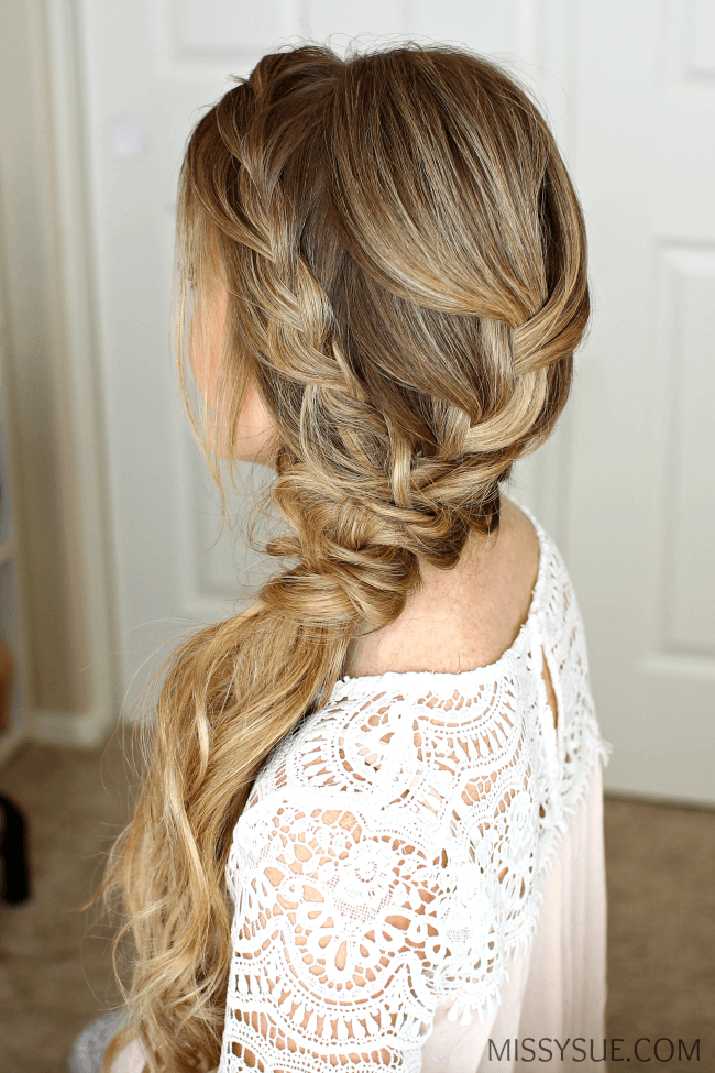 Braided Side Swept Prom Hairstyle