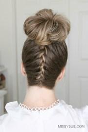 upside french braid high bun
