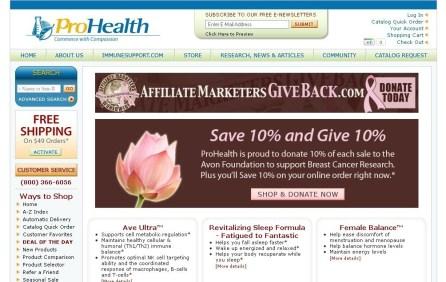 ProHealth.com Save 10% & Give 10% AffiliateMarketersGiveBack.com Promotion