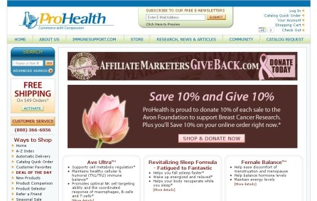 ProHealth.com Save 10% & Give 10% AffiliateMarketersGiveBack.com Promotion