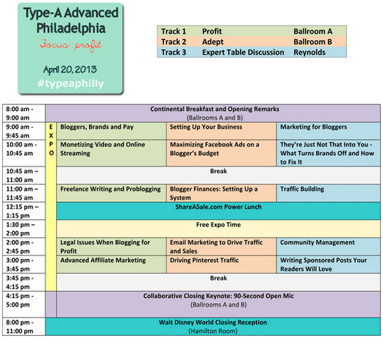 Type A Parent Conference - Advance Philly Agenda