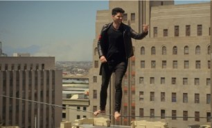 And he is literally on a wire.
