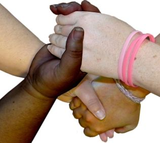 4 multi-colored hands grasping each other