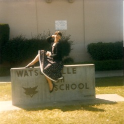 Vinnie posing on the Watsonville High School sign