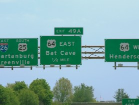 Highway sign for Bat Cave, NC