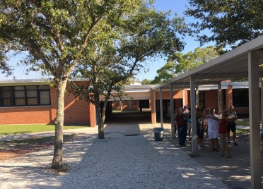 Tour of the school -- inner courtyard