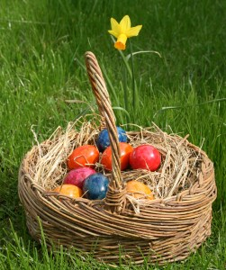 easter eggs in basket