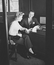 woman being interviewed circa 1940s