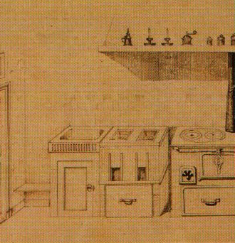 drawing of oven in Landru's kitchen