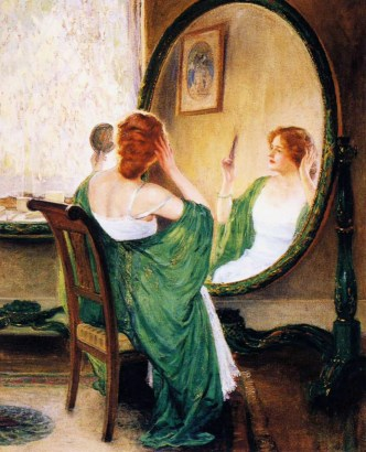 painting of a woman looking in the mirror