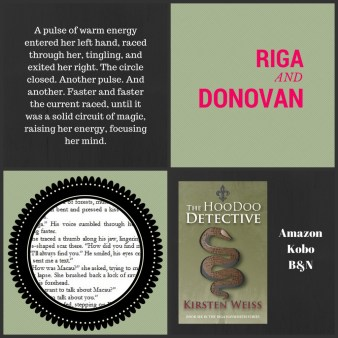 Hoodoo Detective collage of cover and excerpts.