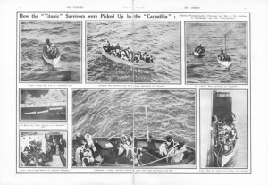 Titanic Survivors. How the Titanic Survivors Were Picked up by the Carpathia. Photographs taken by Mr J W Barker, a passenger on Carpathia, as passengers are rescued from the Titanic lifeboats. Carpathia was sailing from New York City to Rijeka on the night of Sunday, 14 April 1912. The captain, Arthur Henry Rostron, was asleep in his cabin when wireless operator Harold Cottam burst in and told him of Titanic's distress signal. Captain Rostron immediately set course to the liner's last known pos