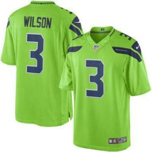Russell Wilson Nike Green Color Rush Vapor Limited Jersey